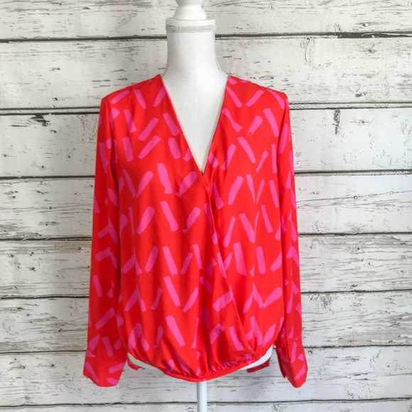 Gibson Latimer Tops - Gibson Latimer Pink & Red High Low Top Size Med